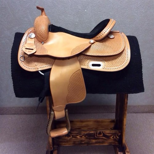 "16"" RS Custom Dot Show Saddle Light Oil - ***1 in stock****The RS Custom Dot Show Saddle is built on our popular #2206 'Training Tree' this tree is known for its unmatched comfort for both horse and rider. This saddle will help you naturally stay in the correct position to enjoy the ride! Limited Quantities Available."