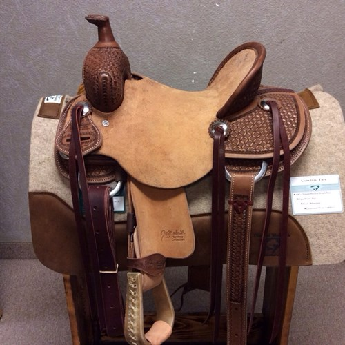 "12"" Jeff Smith Kid Saddle - Made with the same materials and trees of the adult saddles! Great youth saddle sits a nice deep seat with rough out jockey and fenders, stainless steel conchos with saddle strings, and matching back cinch. #11"