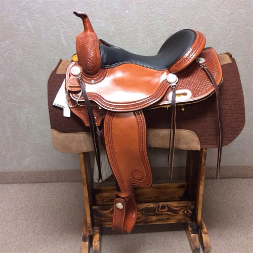"""16"""" #1855 Billy Cook Trail - Very comfortable trail saddle with a round skirt, waffle tooling, matching back cinch, and complete with front cinch. Billy Cook Trail saddles are known for their unmatched comfort and long lasting quality! #1855"""