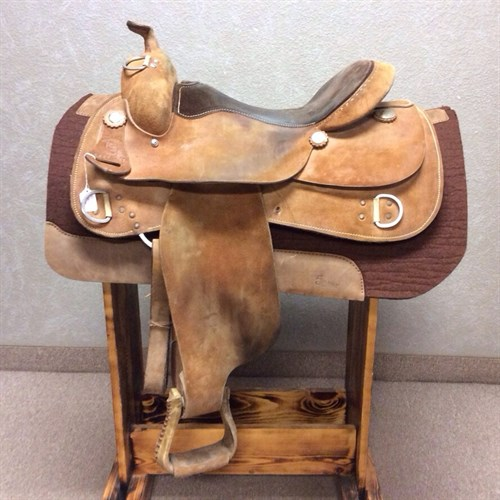 """16"""" RS Training Saddle - Full QH bars, 7"""" gullet with a wide shoulder flare, our RS Custom Training saddles have a great reputation when it comes to being comfortable for the horse and rider! Here is the find of the century! Not often do we have used trainers in stock! This one is at a great price and has thousands of rides left in it."""
