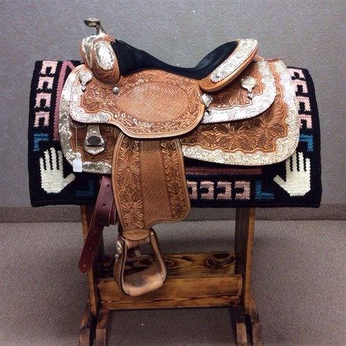 """PRICE REDUCED - 15.5"""" Dale Chavez Show Rio Show Saddle - WOW! As if this saddle isn't gorgeous enough it is dripping with AB Crystals! The crystals on this  saddle pick up any color you put it next to! This saddle sits a comfortable equitation seat measuring 15.5"""" to the pocket. Don't miss out on this quality saddle. Price just REDUCED!"""