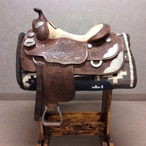 """16"""" Billy Royal Show Saddle - Slightly used show saddle! Quality silver and a great equitation seat make this saddle a great buy! Nice fitting saddle for both the horse and rider FQH Bars, and 7.5"""" Gullet."""
