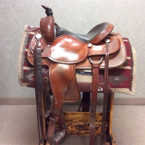 """16"""" Crates Trail Saddle - Lightly used Crates are hard to come by! Great padded seat for comfort on the trail or in the arena. Nice fit for the horse and rider! This saddle includes basket weave tooling and back cinch."""