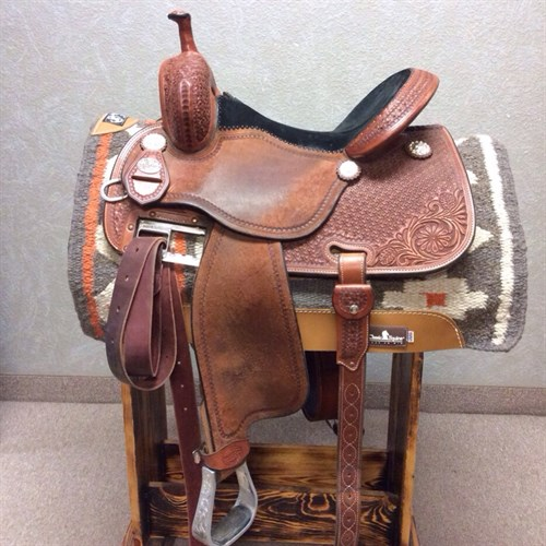 """15"""" X 7.5"""" Martin Crown C - lightly used chestnut Crown C with rough out jockey and fenders with black suede seat. Stainless steel hardware adjustable Martin rigging. Built on the Martin Axis tree."""