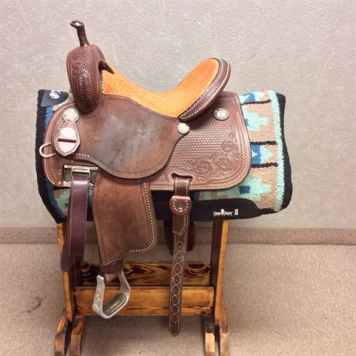 """15"""" X 9.5"""" Martin Crown C - Super fancy lightly used Crown C, chocolate color, elephant seat, upgraded conchos, with dots on skirt and hamley twists."""