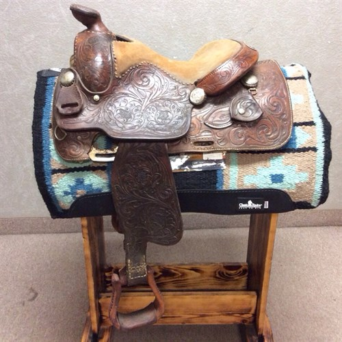 """13"""" Ryon Reining Saddle - Hand made in Ft. Worth, TX by the Ryon Family. Great quality and craftsmanship put into this saddle. Nice deep padded seat for riders comfort."""