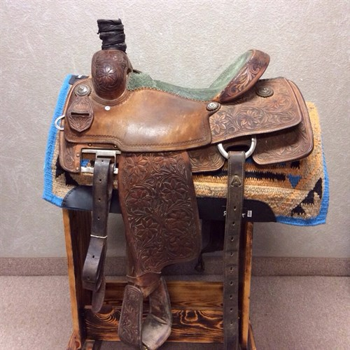 """PRICE REDUCED - 15"""" Martin Rope Saddle - In great condition green elephant seat, upgraded conchos, floral tooling with painted back ground, comes with wide back cinch, and equipped with adjustable rigging. Very nice saddle for a great price!"""
