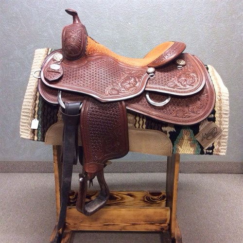 """16"""" Martin Reining Saddle - Beautiful Martin reining saddle with Elephant seat, crystal conchos, mountain daisy tooling, matching Martin back cinch included (not pictured)"""