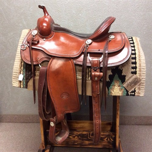 """16"""" Billy Cook Trail Saddle - Gently used Billy Cook Trail Saddle. This saddle has a smooth leather padded seat, very comfortable saddle for both horse and rider. Comes complete with matching back cinch and strings!"""