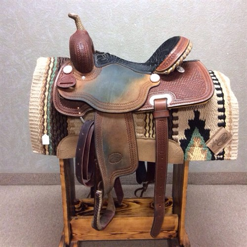"""15"""" Billy Cook Barrel - Just broke in used Billy Cook Barrel Saddle on a buster welch tree! Sits great suede padded seat, with rough out jockey and fender. Comes complete with back cinch, headstall and breast collar."""