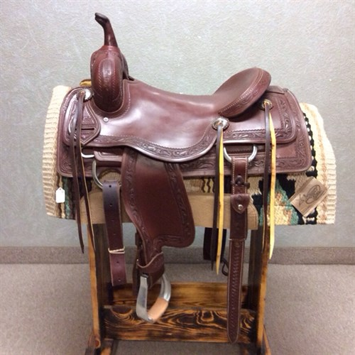 """16.5"""" Jeff Smith Cutting Saddle - This saddle was rode in less than 10 times. Very comfortable cutting saddle built with stainless steel hardware, and boarder tooling."""