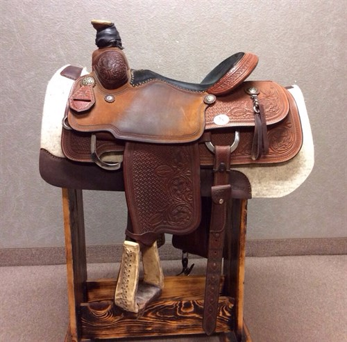 """15"""" Reinsman X Series Roping Saddle - this saddle is in excellent condition, excellent leather, real wool underneath, upgraded conchos and nice big back cinch - great buy!"""