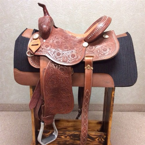 """15"""" McDaniel Barrel Saddle - This slightly used saddle so beautifully tooled with a ostrich print bicycle seat. This saddle has a nice deep pocket with forward hung stirrups!"""