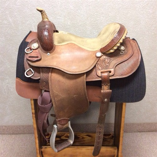 """15"""" Sharon Camarillo Barrel Saddle - Well made just broke in and ready to use. Great deep seat and 7"""" gullet. This saddle is in great condition."""