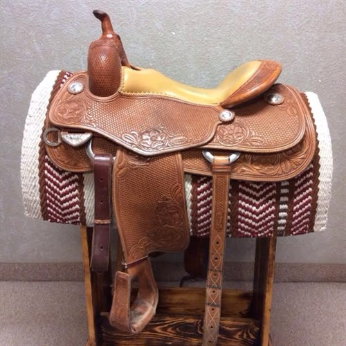 """16"""" Bob's Custom Andrea Fappani Reining Saddle - Designed by NRHA Million Dollar Rider Andrea Fappani! This 2013 model saddle has a smooth leather seat, basket weave tooling, complete with matching back cinch, and sterling silver conchos."""