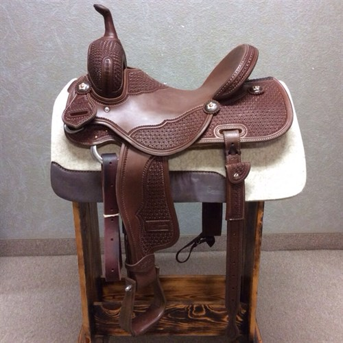 """14.5"""" Jeff Smith Barrel Saddle - Built with quality materials this Jeff Smith Barrel Saddle is built on a cutting tree, great deep seat and tall front end. Really sets you on your pockets and keeps you centered through the turns. Forward swung stirrups that move with ease you will not fight get out of the barrels and stay with your horse. JSB3"""