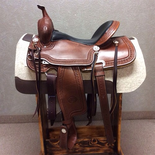 """16"""" #1538 Billy Cook Trail Saddle - We love this new model---it's classic Billy Cook with a flashy twist. This trail saddle features a smooth padded quilted seat, tooled leather stirrups, and glossy hot oil leather with a star border"""