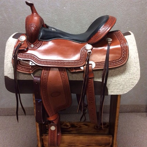 """17"""" #1538 Billy Cook Trail Saddle - We love this new model---it's classic Billy Cook with a flashy twist. This trail saddle features a smooth padded quilted seat, tooled leather stirrups, and glossy Chestnut leather with a star border."""