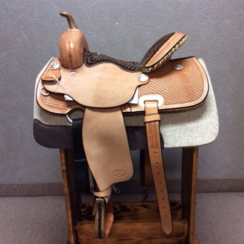 """14"""" OR 15"""" #1521 Billy Cook Barrel Saddle - This Barrel Racing Saddle is beautifully crafted. With its distinct two-toned look, half-breed basket stamped, and rawhide laced cantle, this saddle bears remarkably creative craftsmanship."""