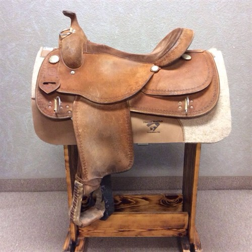 """16"""" #2206 RS Training Saddle - RARE to have in the store!! We never get these saddles in used, this barb wire boarder tooled training saddle is built on our famous #2206 tree, and already broken in for you! LOTS of rides left in this saddle!"""