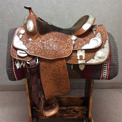 "16"" Billy Cook Show Saddle - BEAUTIFUL Billy Cook Show Saddle this silver is PERFECT no blemishes or discoloring, always stored inside & in a case. Great equitation seat that will put you right where you need to be to win the class. Black suede seat with minimum wear, beautiful oak leaf tooling. Ready to show! Reduced from $1850 to $1700. (C)"