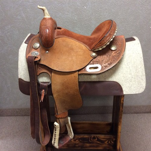 "14"" El Durango Barrel Saddle - Light weight barrel saddle in new condition, rough out jockey and fender, rust suede seat."