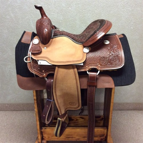 """14"""" OR 16"""" #1550 Billy Cook Barrel Saddle - This barrel racer by Billy Cook is the epitome of beauty and speed. It's built on a rawhide covered tree with Quarter horse bars and features a cheyenne roll 5"""" cantle and roughout jockeys and fenders to give you a snug hold. The leather features a floral and basket design and the seat is uniquely quilted (and comfortable!)."""