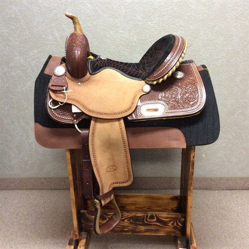"""15"""" #1930 Billy Cook Barrel Saddle - Billy Cook is not only that every saddle buys them the comfort and quality they expect, but also because each saddle is a distinct work of art with its own unique features. This Barrel Racing Saddle is beautifully crafted. We love the hand stitched seat, silver spot borders, and rawhide braided horn. It's just as beautiful as it is functional."""