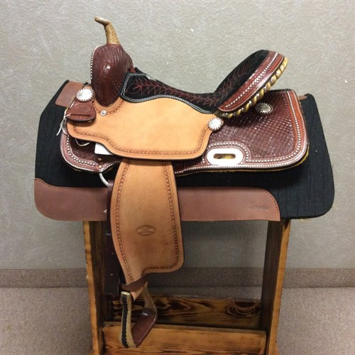 """14"""" OR 15"""" #1530 Billy Cook Barrel Saddle - Billy Cook is not only that every saddle buys them the comfort and quality they expect, but also because each saddle is a distinct work of art with its own unique features. This Barrel Racing Saddle is beautifully crafted. We love the hand stitched seat, silver spot borders, and rawhide braided horn. It's just as beautiful as it is functional."""