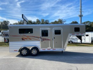 """(REORDERED) 2021 Kiefer (2) horse straight load trailer with a front tack room that is completely insulated and lined,  bridle hooks, removable saddle racks and a brush box.   The horse area has an interior height at 7'6"""" tall x 7'2"""" wide, (2) escape doors with drop down windows with aluminum bars, roof vents, insulated roof, rubber lined & insulated walls, removable divider with head shield,  rubber mats over all aluminum floor and a rear ramp with dutch doors!"""